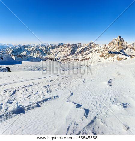 Panorama of Breuil Cervinia mountains in Alps. Matterhorn peak