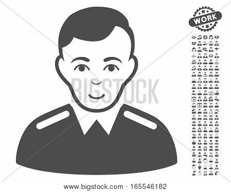 Officer icon with bonus human clip art. Vector illustration style is flat iconic gray symbols on white background.