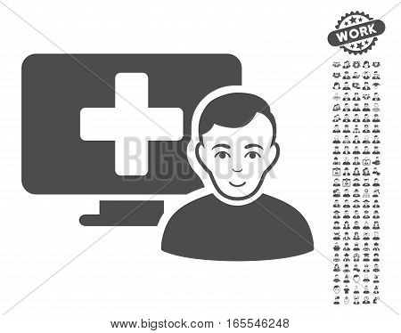 Online Medicine icon with bonus human pictures. Vector illustration style is flat iconic gray symbols on white background.