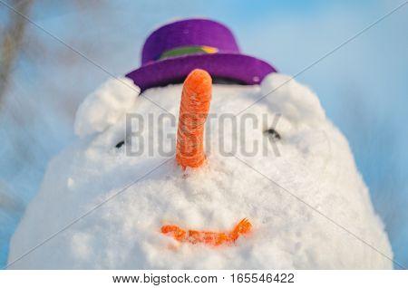 Snowman with purple hat. Facial closeup portrait