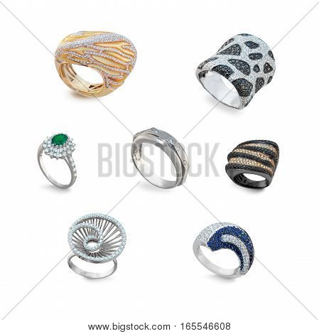 set of golden rings with diamonds on a white