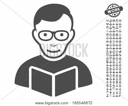 Reader icon with bonus occupation pictograph collection. Vector illustration style is flat iconic gray symbols on white background.
