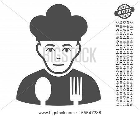 Sad Cook icon with bonus avatar symbols. Vector illustration style is flat iconic gray symbols on white background.