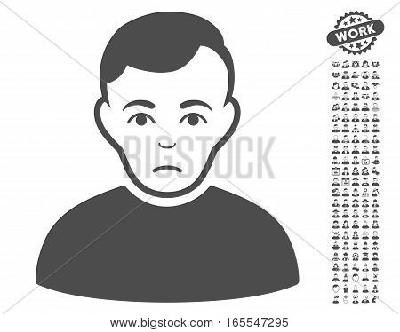 Sad Man icon with bonus avatar pictograms. Vector illustration style is flat iconic gray symbols on white background.