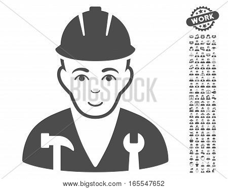 Serviceman pictograph with bonus human pictograms. Vector illustration style is flat iconic gray symbols on white background.