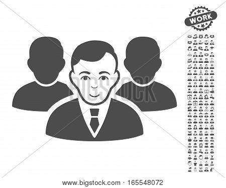 Team pictograph with bonus people images. Vector illustration style is flat iconic gray symbols on white background.