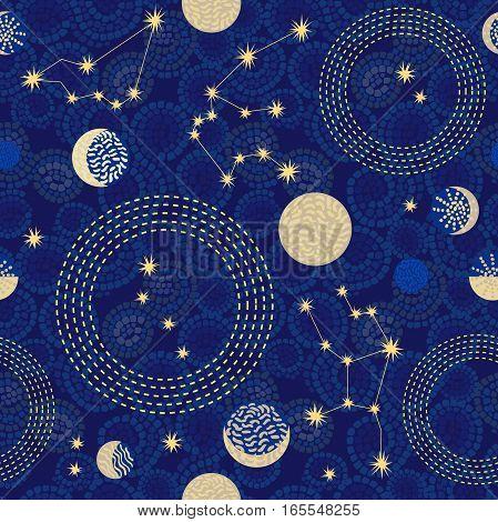 1950s-1960s motifs. Retro textile collection. Golden on dark.