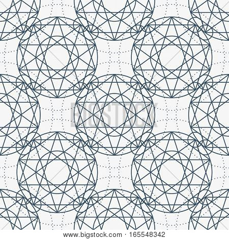 Geometric seamless texture. Vector linear mystical pattern on white background