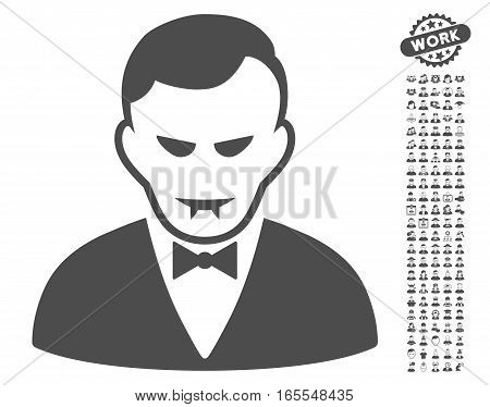 Vampire pictograph with bonus human pictures. Vector illustration style is flat iconic gray symbols on white background.