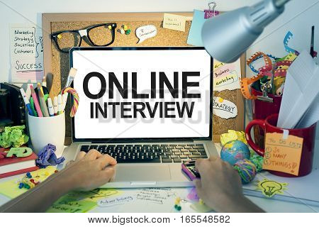 Online interview job application business concept with laptop