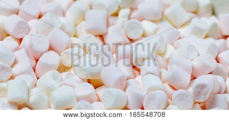 Lots of little marshmallows. Background, horizontal image