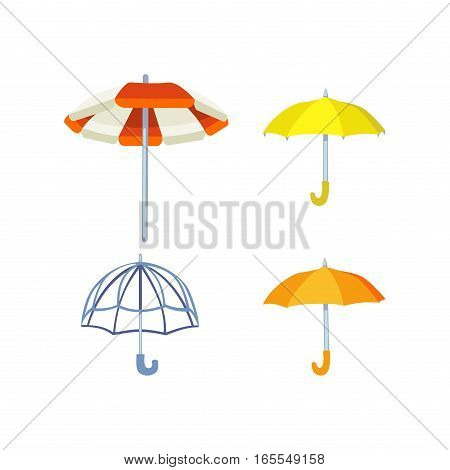 Set of cute multi colored umbrellas in flat design style. Autumn accessory concept fashion sign. Colorful flat collection comfort outdoor element climate protective.