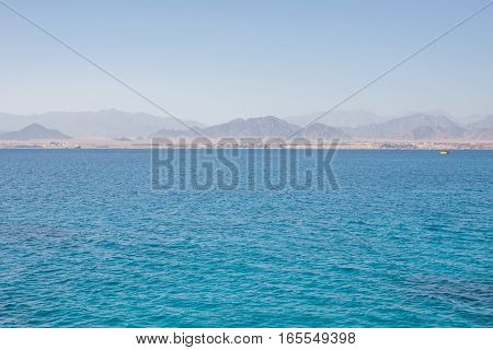 Egypt desert mountain and Red sea water surface landscape