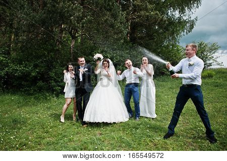 Wedding Couple With Their Friends Drinking Champagne.