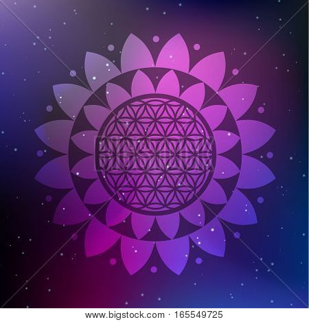 Vector Lotus Mandala with Flower of Life on a Cosmic Background