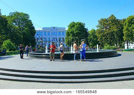 Chernihiv / Ukraine. 28 August 2016: people have a rest near the fountains in Chernihiv.  28 August 2016 in Chernihiv / Ukraine.