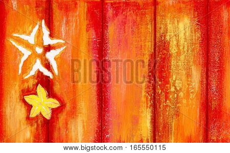 Peeling paint wooden background decorated with starfishes