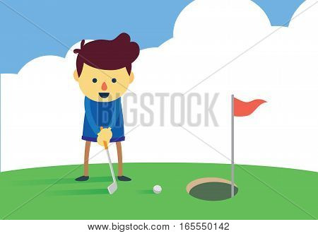 Man putting a golf ball into the big hole. Illustration about easy doing concept.