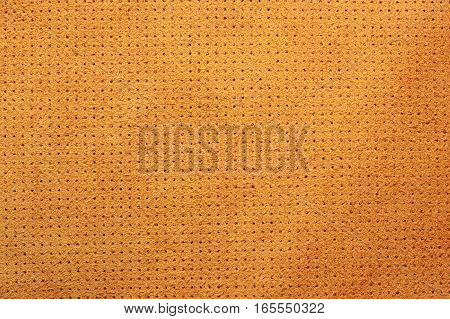 Yellow velvet perforated leather texture background suede dots