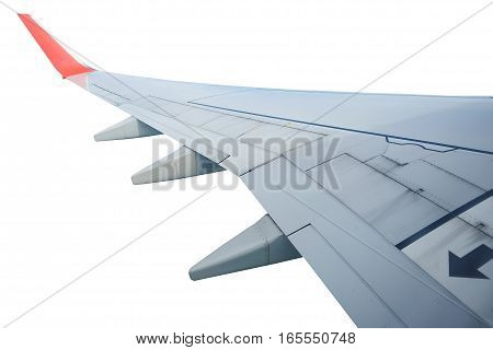 Wing of airplane isolated on white background