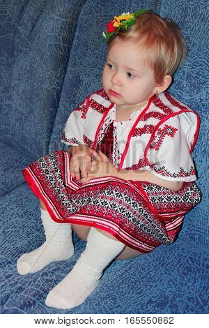 beautiful baby in traditional Ukrainian national suit