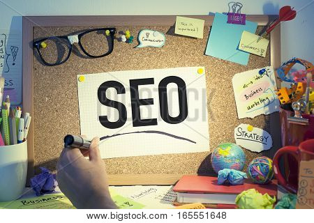 SEO Search engine optimization business concept in office