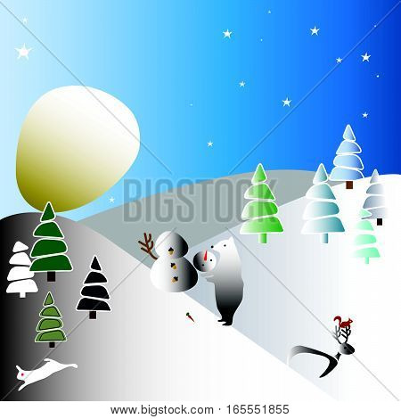 the moon like a huge snowball (winter landscape)