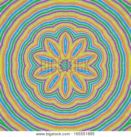 Abstract concentric floral pattern from colorful lines on gray background