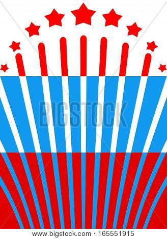 Russian Flag And Salute. Russia Banner And Fireworks. National Background