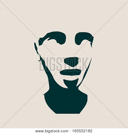 Human head silhouette. Face front view. Elegant silhouette of part of human face. Vector Illustration
