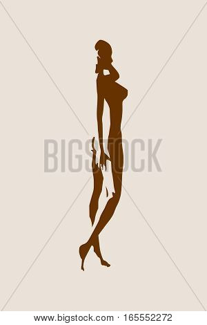 Sexy women silhouettes. Fashion mannequin isolated. Female figure posing. Side view