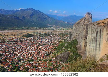 Kalampaka Town and the rock Meteora, Greece