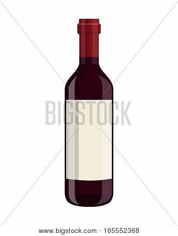 bottle of wine isolated on white background. Vector illustration in flat style For web, info graphics.