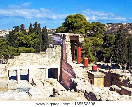 Ruins of the famous Knossos palace, south Greece