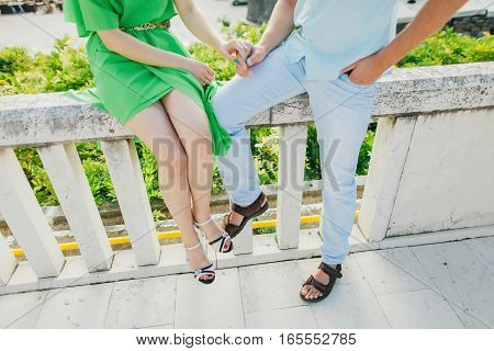 Lovely Couple Holding Hands Together