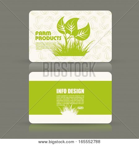 Card set eco design, organic foods shop or vegan cafe business card with green foliage.