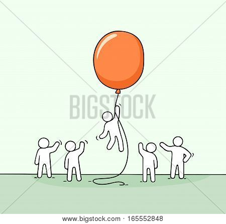 Doodle cute miniature scene of workers with balloon. Sketch concept about success and leadership. Hand drawn cartoon vector illustration for business design.