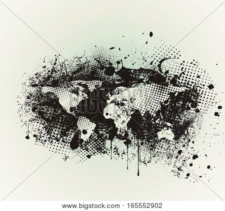 Grunge Political World Map with Ink Blots Brush Texture on White Background.