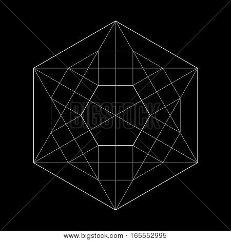 Harmonic in sacred geometry Plato. The ratio of the hexagon. Stock vector illustration