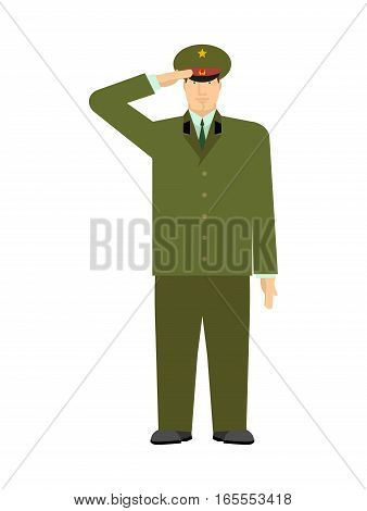 Russian Military Officer Isolated. Soldier From Russia. Illustration For Defenders Of Fatherland Day
