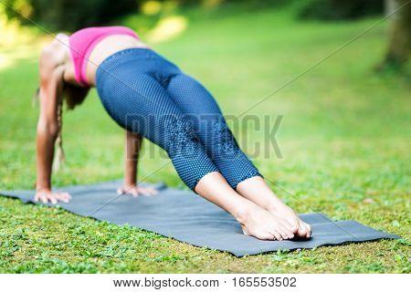 Yoga Reverse Plank Pose or Purvottanasana, toned image
