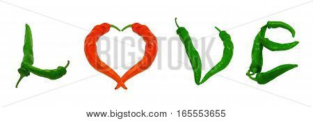 Word Love With Heart Sign Composed Of Green And Red Chili Peppers