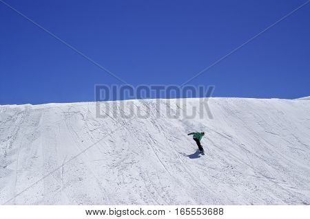 Snowboarder Downhill In Terrain Park And Blue Clear Sky At Ski Resort