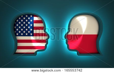 Image relative to politic and economic relationship between USA and Poland. National flags inside the heads of the businessmen. Teamwork concept. 3D rendering. Neon light