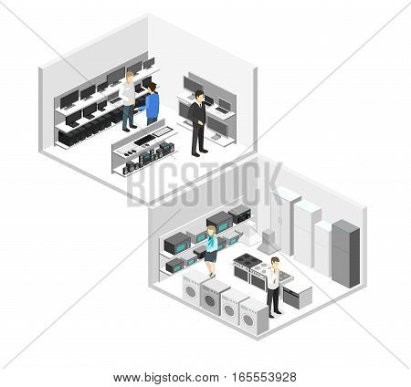 Isometric Flat 3D Interior Household Equipment Store, Computer Shop