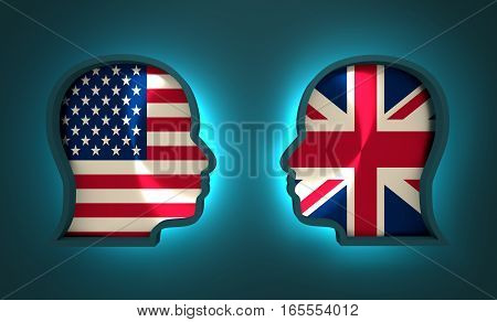 Image relative to politic and economic relationship between USA and Britain. National flags inside the heads of the businessmen. Teamwork concept. 3D rendering. Neon light