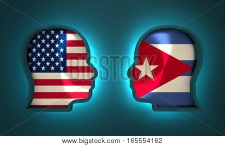 Image relative to politic and economic relationship between USA and Cuba. National flags inside the heads of the businessmen. Teamwork concept. 3D rendering. Neon light