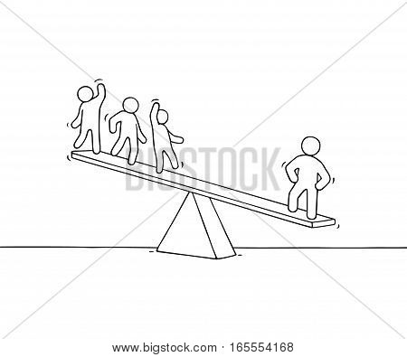 Sketch of working little people with scale. Doodle cute miniature scene about individuality. Hand drawn cartoon vector illustration for business design.