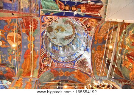 SUZDAL, RUSSIA - AUGUST 23, 2011: Ceiling of the Church of Transfiguration in Monastery of Saint Euthymius.