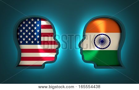 Image relative to politic and economic relationship between USA and India. National flags inside the heads of the businessmen. Teamwork concept. 3D rendering. Neon light